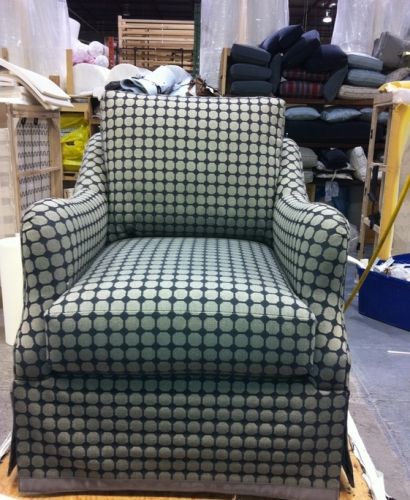 Our new swivel chair all dressed up