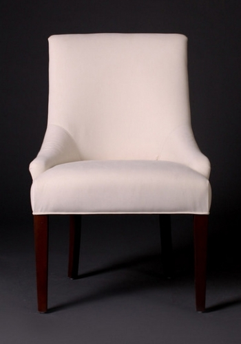 7046 Gresham House Furniture Comfortable dining chair with curved sides and tapered legs.