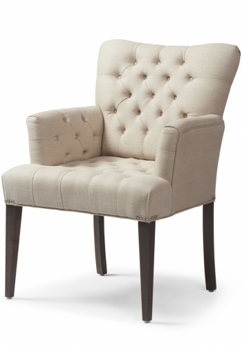7230 Gresham House Furniture Style #7230 This small curved chair features a diamond tufted seat and back. Angle view.