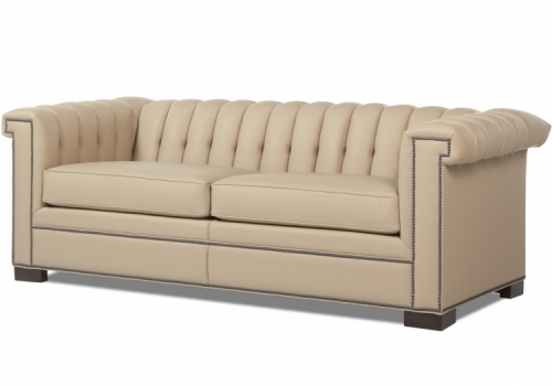 Liam Sofa Gresham House Furniture Sofa Style #5500 pictured in leave with stud detail