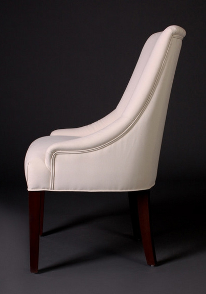 7046 Gresham House Furniture Comfortable dining chair with curved sides and tapered legs. - side