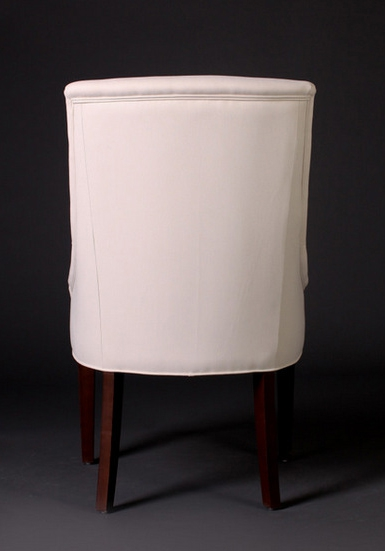 7046 Gresham House Furniture Comfortable dining chair with curved sides and tapered legs. - back