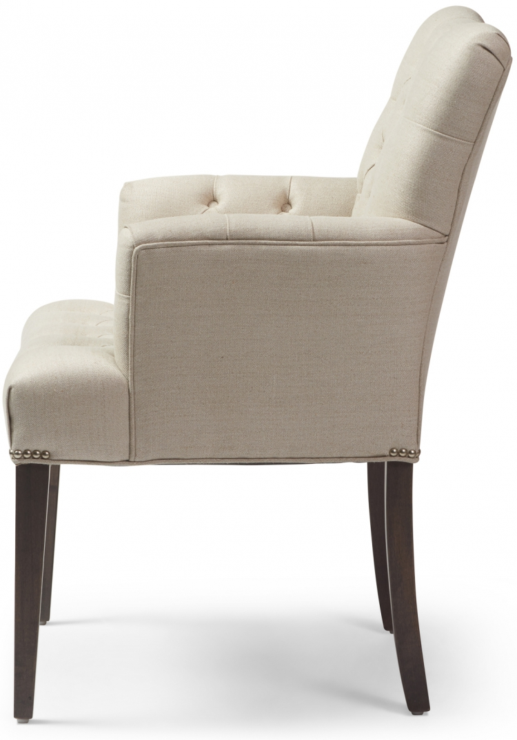 7230 Gresham House Furniture Style #7230 This small curved chair features a diamond tufted seat and back. side view.