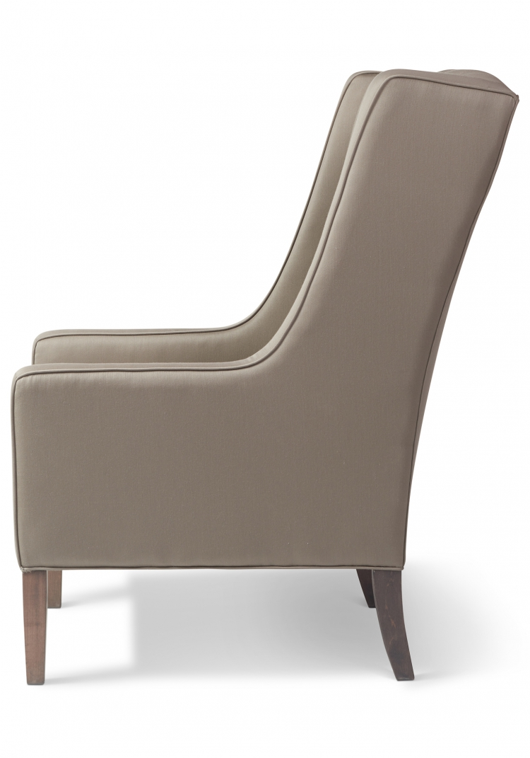 7422 Gresham House Furniture Wing chair with our beautiful modern diamond tuft back detail. Side view.