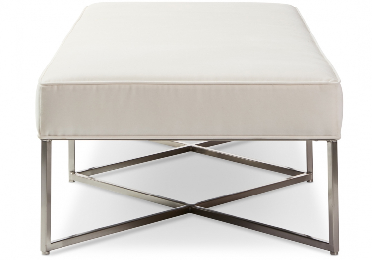 Richard 7945 Gresham House Furniture Ottoman Style #7945 in brushed chrome - end view